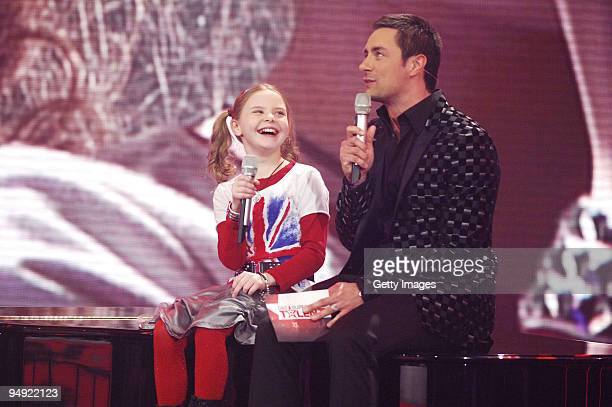 Carlotta Truman Marco Schreyl performs during the finals of the TV show 'Das Supertalent' on December 19 2009 in Cologne Germany