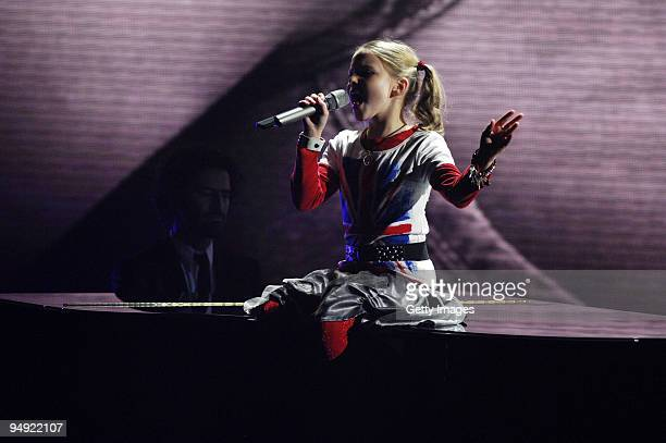 Carlotta Truman performs during the finals of the TV show 'Das Supertalent' on December 19 2009 in Cologne Germany