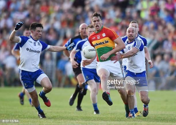 Carlow Ireland 15 July 2017 Brendan Murphy of Carlow in action against Shane Carey left and Gavin Doogan of Monaghan during the GAA Football...