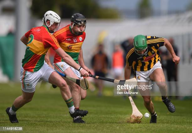 Carlow Ireland 19 May 2019 Alan Murphy of Kilkenny in action against Kevin McDonald left and John Nolan of Carlow during the Leinster GAA Hurling...