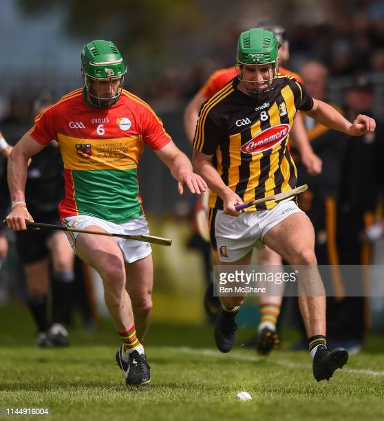 Carlow Ireland 19 May 2019 David English of Carlow in action against Alan Murphy of Kilkenny during the Leinster GAA Hurling Senior Championship...