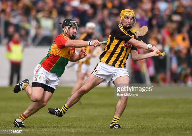Carlow Ireland 19 May 2019 Richie Leahy of Kilkenny in action against Seamus Murphy of Carlow during the Leinster GAA Hurling Senior Championship...