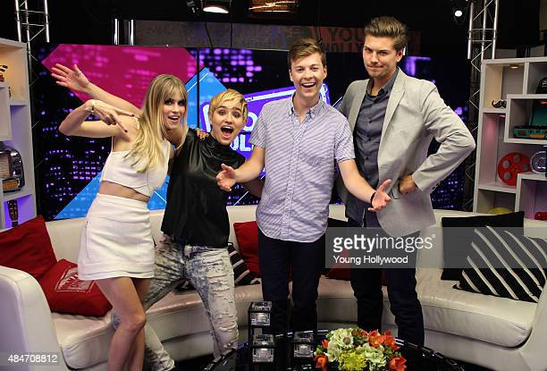 Carlson Young Bex TaylorKlaus John Karna and Amadeus Serafini at the Young Hollywood Studio on August 11 2015 in Los Angeles California