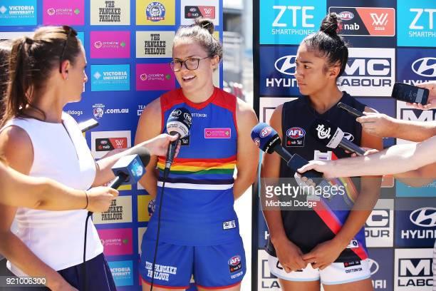 Carlton AFLW forward Darcy Vescio and Bulldog Emma Kearney speak to media with their Pride guernseys for Friday nightÕs game during an AFLW media...
