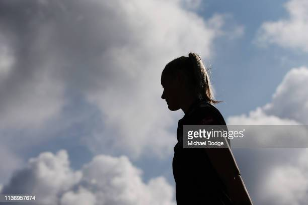 Carlton Blues forward Tayla Harris arrives during a press conference at Ikon Park on March 20 2019 in Melbourne Australia
