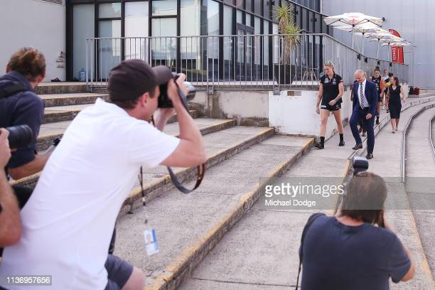 Carlton Blues forward Tayla Harris arrives next to Carlton CEO Cain Liddle during a press conference at Ikon Park on March 20 2019 in Melbourne...