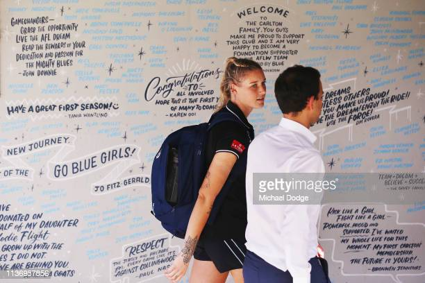 Carlton Blues forward Tayla Harris leaves in front of messages in support of Women's football during a press conference at Ikon Park on March 20 2019...