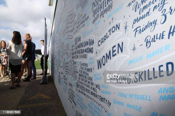 Carlton Blues forward Tayla Harris speaks in front of messages in support of Women's football during a press conference at Ikon Park on March 20 2019...