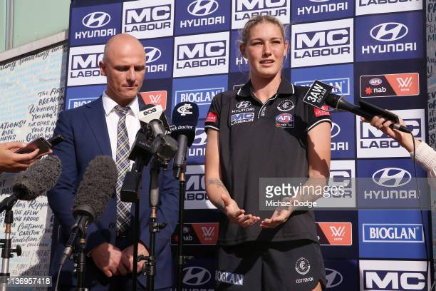 Carlton Blues forward Tayla Harris speaks next to Carlton CEO Cain Liddle during a press conference at Ikon Park on March 20 2019 in Melbourne...