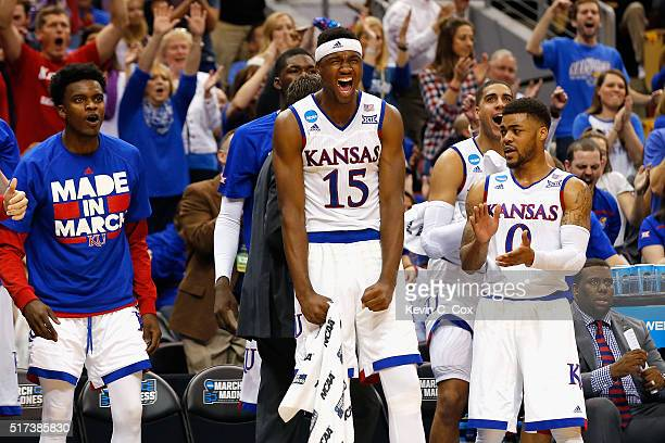 Carlton Bragg Jr #15 of the Kansas Jayhawks and Frank Mason III react in the second half against the Maryland Terrapins during the 2016 NCAA Men's...