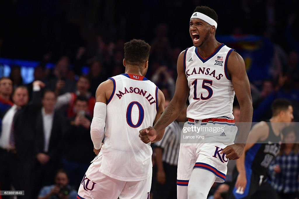 Carlton Bragg Jr. #15 reacts following the game-winning shot by Frank Mason III #0 of the Kansas Jayhawks during their game against the Duke Blue Devils in the State Farm Champions Classic at Madison Square Garden on November 15, 2016 in New York City. Kansas won 77-75.