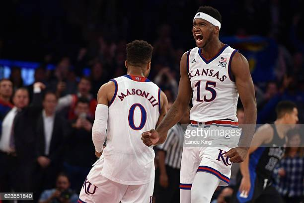 Carlton Bragg Jr. #15 reacts following the game-winning shot by Frank Mason III of the Kansas Jayhawks during their game against the Duke Blue Devils...