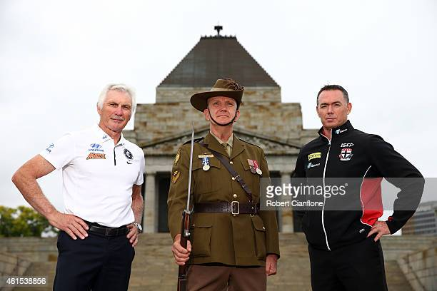 Carlton coach Mick Malthouse Shrine Guard Gary Brunda and Saints coach Alan Richardson pose during an AFL media opportunity at the Shrine of...
