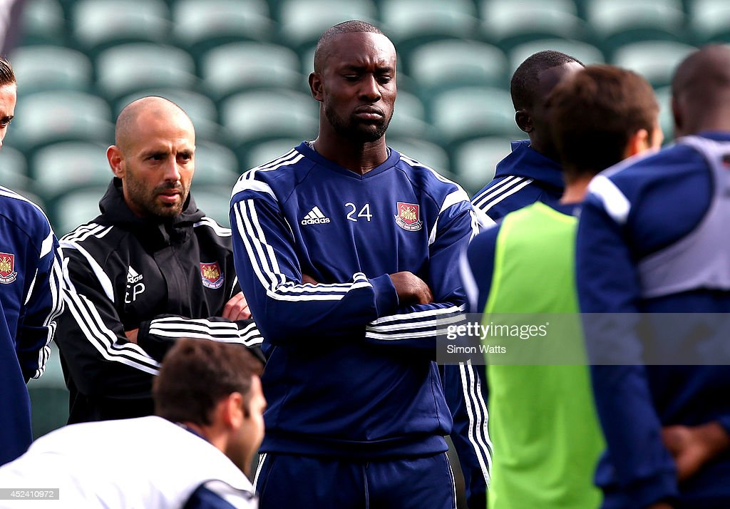 Carlton Cole during a West Ham United training session at North Harbour Stadium on July 20, 2014 in Auckland, New Zealand.