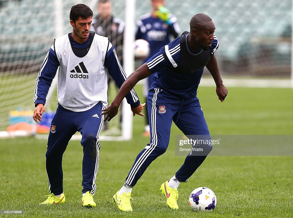 Carlton Cole in action during a West Ham United training session at North Harbour Stadium on July 20, 2014 in Auckland, New Zealand.