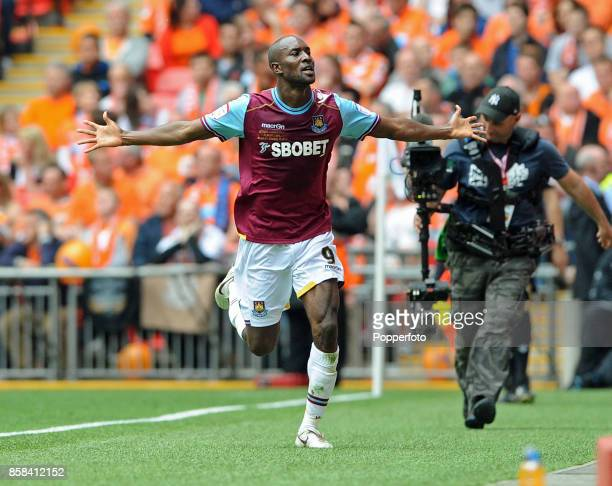 Carlton Cole of West Ham celebrates after scoring a goal during the nPower Championship Playoff Final between West Ham United and Blackpool at...