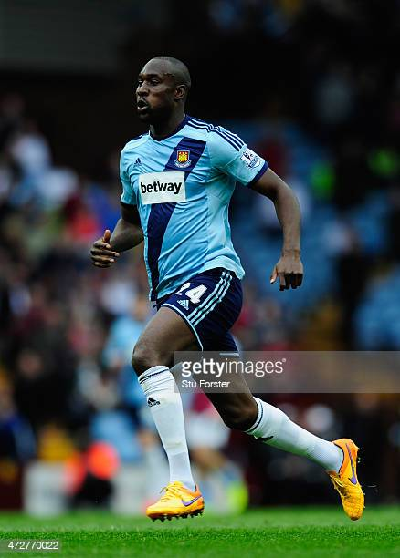 Carlton Cole of West Ham in action during the Barclays Premier League match between Aston Villa and West Ham United at Villa Park on May 9 2015 in...