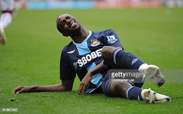 Carlton Cole of West Ham looks dejected during the Barclays Premier League match between Stoke City and West Ham United at the Britannia Stadium on...