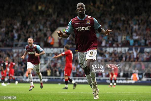 Carlton Cole of West Ham United celebrates his goal during the npower Championship match between West Ham United and Portsmouth at Boleyn Ground on...