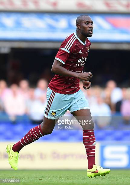 Carlton Cole of West Ham United in action during the preseason friendly match between Ipswich Town and West Ham United at Portman Road on July 16...