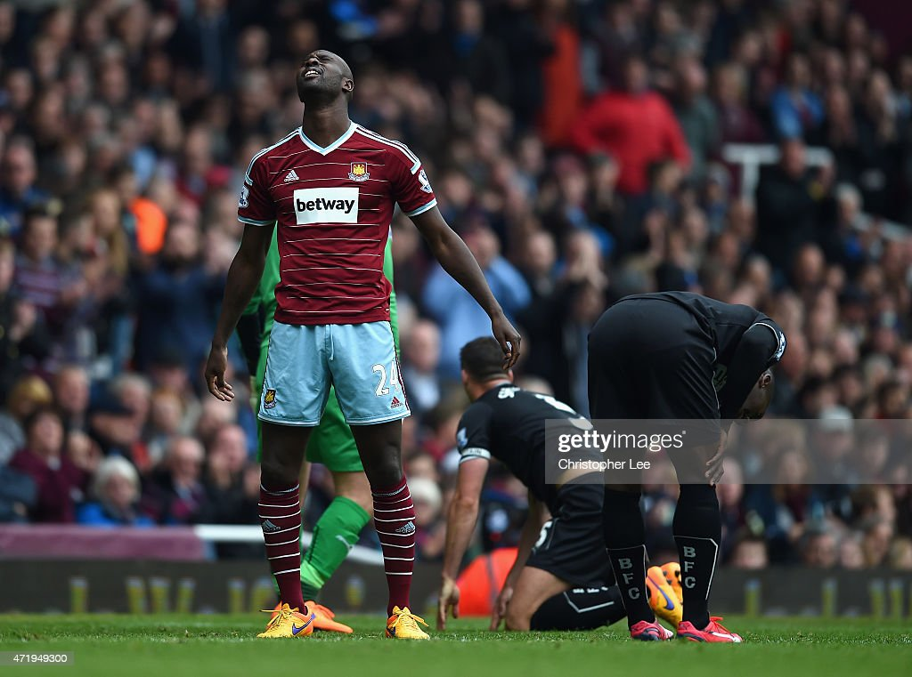 Carlton Cole of West Ham United reacts during the Barclays Premier League match between West Ham United and Burnley at the Boleyn Ground on May 2, 2015 in London, England.