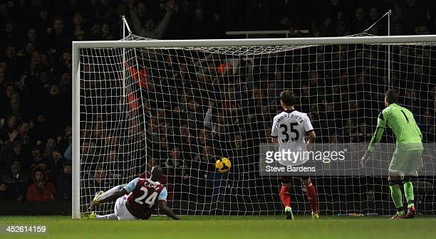 Carlton Cole of West Ham United scores their second goal during the Barclays Premier League match between West Ham United and Fulham at Boleyn Ground...