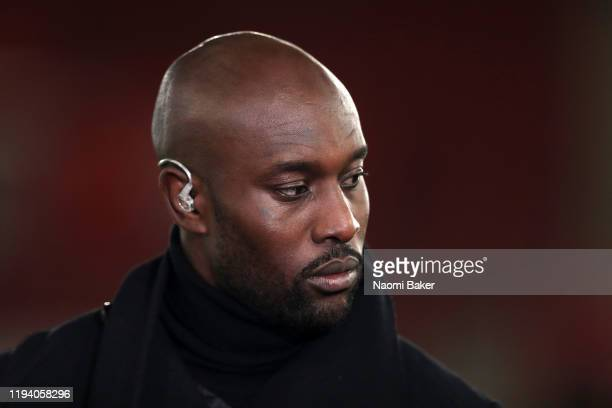 Carlton Cole speaks with Sky Sports during the Premier League match between Southampton FC and West Ham United at St Mary's Stadium on December 14,...