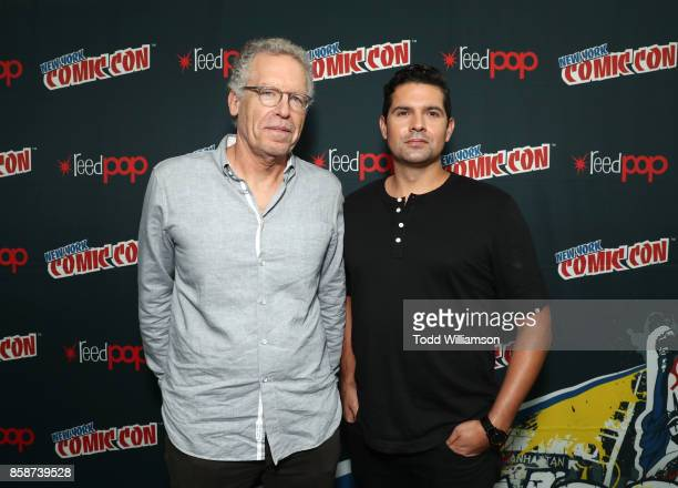 Carlton Cuse and Graham Roland attend Amazon Prime Video's Tom Clancy's Jack Ryan Comic Con 2017 Press Room at The Jacob K Javits Convention Center...