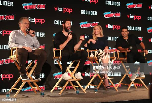Carlton Cuse John Krasinski Abbie Cornish and Graham Roland are interviewed on stage at Amazon Prime Video's Tom Clancy's Jack Ryan Comic Con 2017...