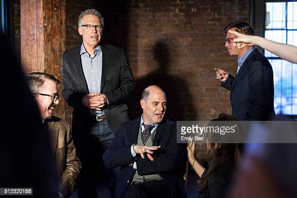 Carlton Cuse Matthew Weiner and Aaron Sorkin are photographed behind the scenes of The Hollywood Reporter Drama Showrunner Roundtable for The...
