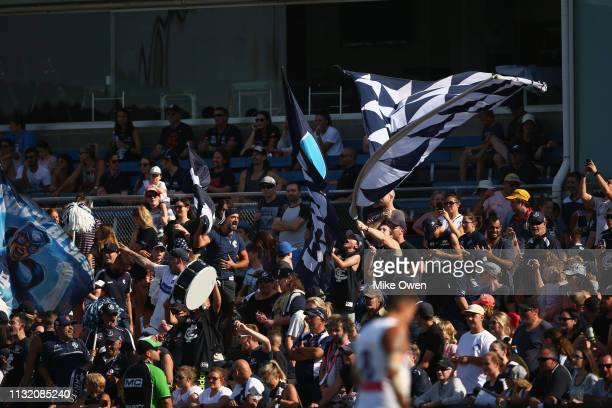 Carlton fans are see during the AFLW Preliminary Final match between the Carlton Blues and the Fremantle Dockers at Ikon Park on March 23 2019 in...