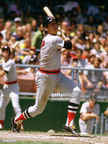 Carlton Fisk of the Boston Red Sox at bat during a game from his 1973 season Carlton Fisk played for 24 years with 2 different teams was a 11time...