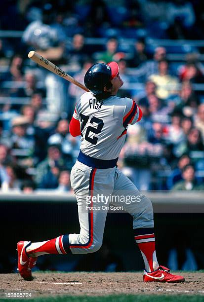 Carlton Fisk of the Chicago White Sox bats against the New York Yankees during a Major League Baseball game circa 1982 at Yankee Stadium in the Bronx...