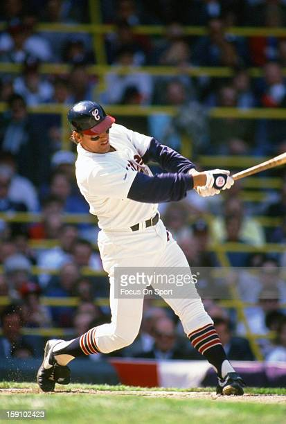 Carlton Fisk of the Chicago White Sox bats during an Major League Baseball game circa 1987 at Comiskey Park in Chicago Illinois Fisk played for the...