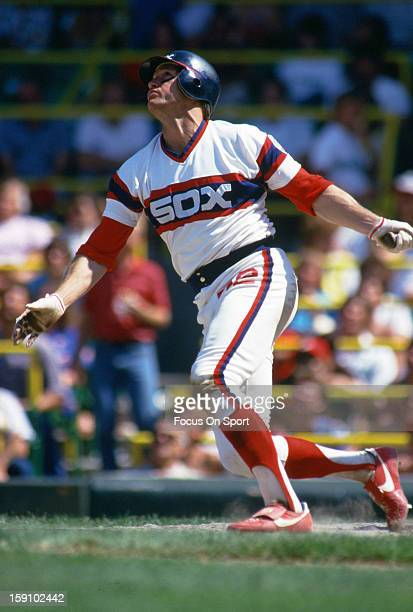 Carlton Fisk of the Chicago White Sox bats during an Major League Baseball game circa 1982 at Comiskey Park in Chicago Illinois Fisk played for the...