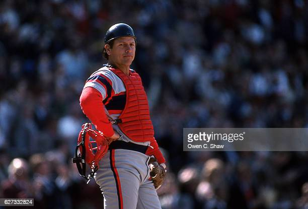 Carlton Fisk of the Chicago White Sox circa 1983 catches against the Baltimore Orioles at Memorial Stadium in Baltimore Maryland