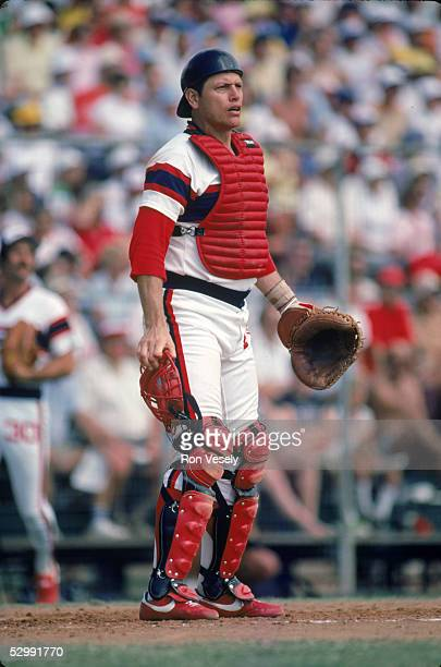 Carlton Fisk of the Chicago White Sox fields during an MLB game at the Comiskey Park in Chicago Illinois Carlton Fisk played for the Chicago White...