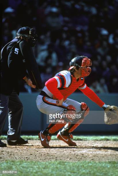 Carlton Fisk of the Chicago White Sox fields during an MLB game at Fenway Park in Boston Massachusetts Carlton Fisk played for the Chicago White Sox...