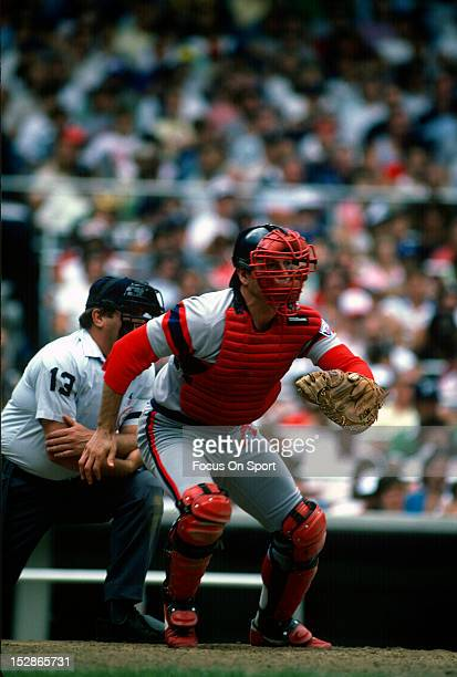 Carlton Fisk of the Chicago White Sox in action against the New York Yankees during a Major League Baseball game circa 1982 at Yankee Stadium in the...