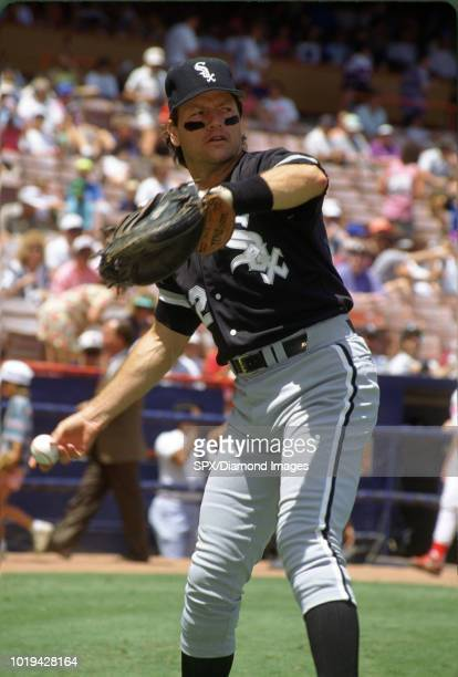 Carlton Fisk of the Chicago White Sox warming up before a game from his 1992 season with the Chicago White Sox Carlton Fisk played for 24 years with...