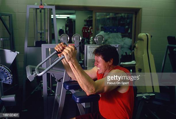 Carlton Fisk of the Chicago White Sox works out lifting weights circa 1982 Fisk played for the White Sox from 198193