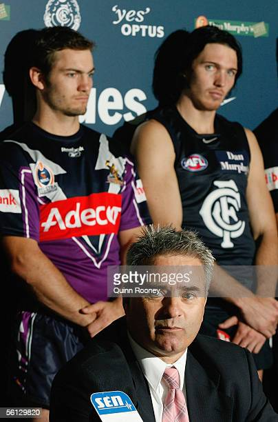 Carlton Football Club CEO Michael Malouf surrounded by Carlton and Melbourne Storm players makes the announcement that Melbourne Storm will share...