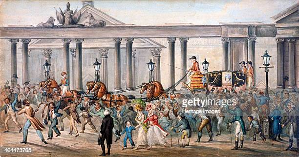Carlton House Westminster London 1821 View of Carlton House with the coach of Queen Caroline consort of George IV in procession surrounded by a crowd