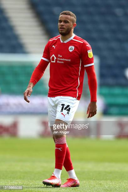 Carlton Morris of Barnsley during the Sky Bet Championship match between Preston North End and Barnsley at Deepdale on May 01, 2021 in Preston,...