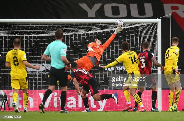 Carlton Morris of Barnsley FC scores their team's third goal during the Sky Bet Championship match between AFC Bournemouth and Barnsley at Vitality...