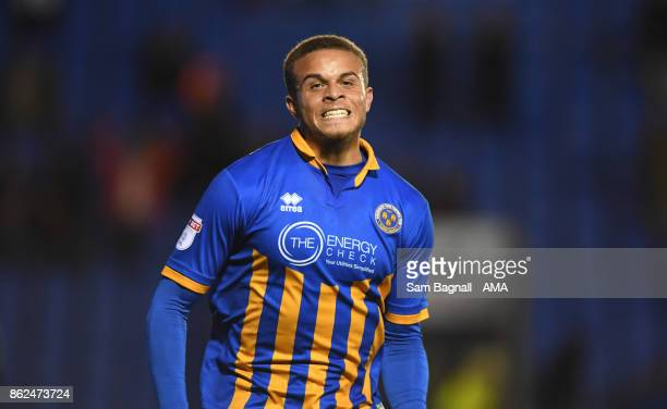 Carlton Morris of Shrewsbury Town celebrates after scoring a goal to make it 20 during the Sky Bet League One match between Shrewsbury Town and...
