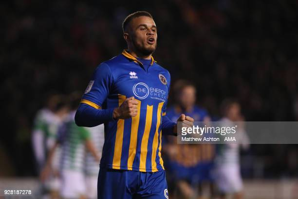 Carlton Morris of Shrewsbury Town celebrates after scoring a goal to make it 10 during the Checkatrade Trophy Semi Final between Shrewsbury Town and...