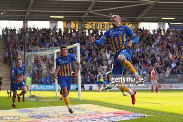 Carlton Morris of Shrewsbury Town celebrates after scoring a goal to make it 10 during the Sky Bet League One Play Off Semi FinalSecond Leg between...
