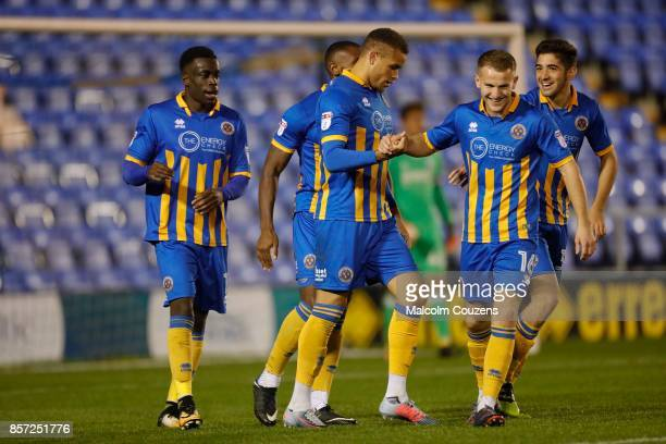 Carlton Morris of Shrewsbury Town celebrates his goal during the EFL Checkatrade Trophy Northern Section Group B game between Shrewsbury Town and...