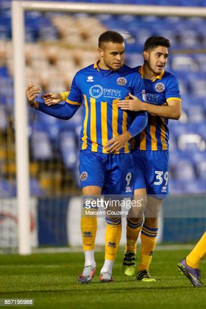 Carlton Morris of Shrewsbury Town celebrates his goal with Christos Shelis during the EFL Checkatrade Trophy Northern Section Group B game between...